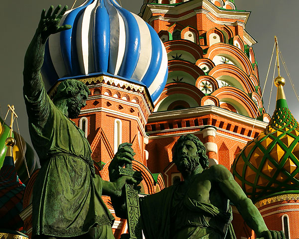 Dmitry Pozharsky and Kuzma Minin in front of St. Basil's Cathedral. Click the image to continue.