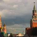 Saint Basil's Cathedral and Spasskaya Tower of Moscow Kremlin at Red Square.